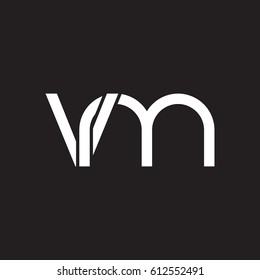 Initial letters vm, round overlapping chain shape lowercase logo modern design white black background