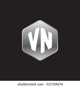 Initial letters VN rounded hexagon shape silver modern logo