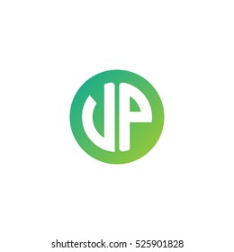 Initial letters VP circle shape green simple logo