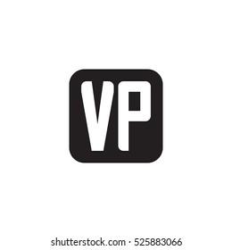 Initial letters VP rounded square shape monogram black simple logo
