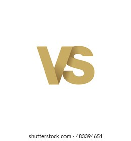 Initial letters VS overlapping fold logo brown gold