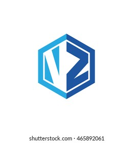 Initial letters VZ negative space hexagon shape logo blue