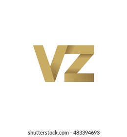 Initial letters VZ overlapping fold logo brown gold