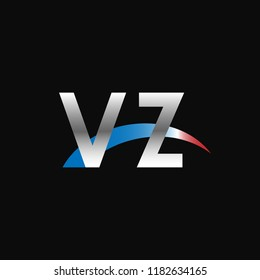Initial letters VZ overlapping movement swoosh logo, metal silver blue red color on black background