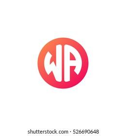 Initial letters WA circle shape red orange simple logo