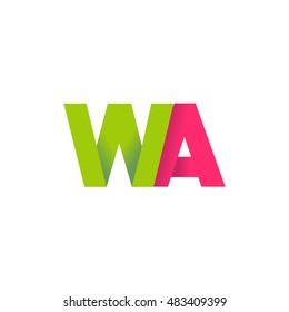 Initial letters WA overlapping fold logo green magenta