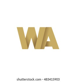 Initial letters WA overlapping fold logo brown gold