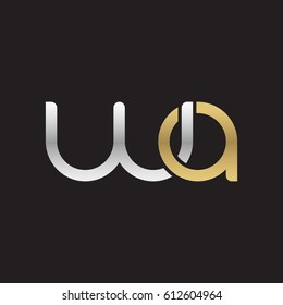 Initial letters wa, round overlapping chain shape lowercase logo modern design silver gold