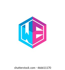 Initial letters WE hexagon box shape logo blue pink purple