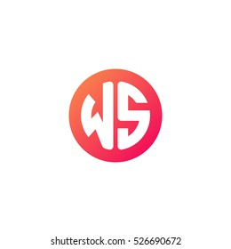 Initial letters WS circle shape red orange simple logo