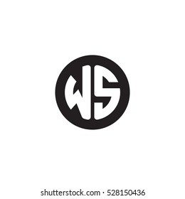 Initial letters WS circle shape monogram black simple logo
