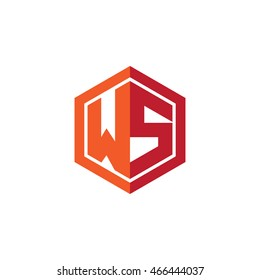 Initial letters WS hexagon shape logo red orange