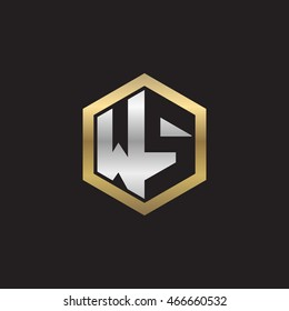 Initial letters WS negative space hexagon shape logo silver gold