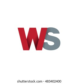 Initial letters WS overlapping fold logo red gray