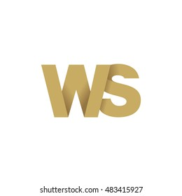 Initial letters WS overlapping fold logo brown gold