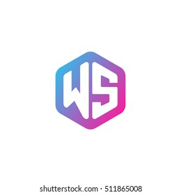 Initial letters WS rounded hexagon shape blue pink purple simple modern logo