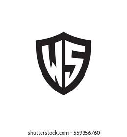 Initial letters WS shield shape black monogram logo
