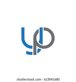 Initial letters yp, round overlapping lowercase logo modern design blue gray