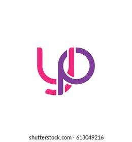Initial letters yp, round overlapping lowercase logo modern design pink purple