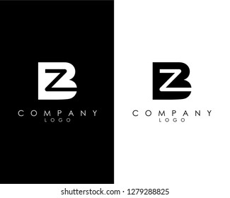 Initial Letters zb/bz abstract company Logo Design vector
