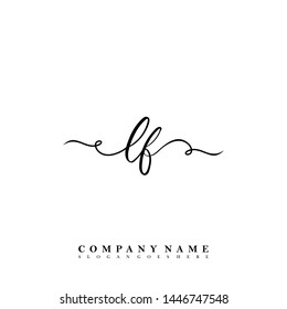 Initial LF beauty handwriting logo template vector