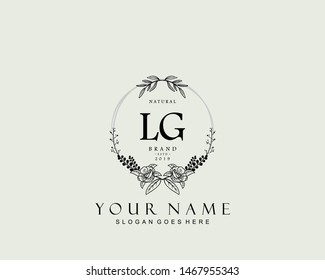 Initial LG beauty monogram and elegant logo design, handwriting logo of initial signature, wedding, fashion, floral and botanical with creative template.