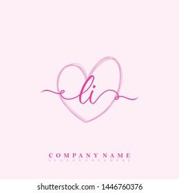 Initial LI beauty handwriting logo template vector