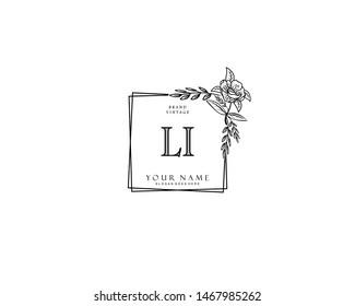 Initial LI beauty monogram and elegant logo design, handwriting logo of initial signature, wedding, fashion, floral and botanical with creative template.
