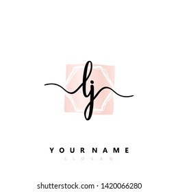 Initial LJ handwriting logo template vector