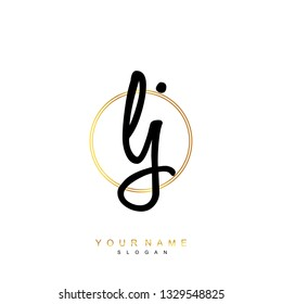 Initial LJ handwriting logo vector