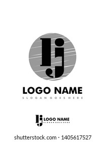 Initial LJ negative space logo with circle template