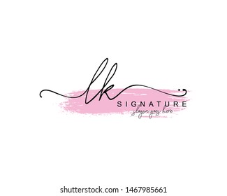 Initial LK beauty monogram and elegant logo design, handwriting logo of initial signature, wedding, fashion, floral and botanical with creative template.