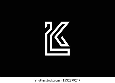 Initial LK KL modern monogram and elegant logo design, Professional Letters Vector Icon Logo on black background.