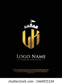 initial LK letter with shield style logo template vector