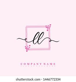 Initial LL beauty handwriting logo template vector