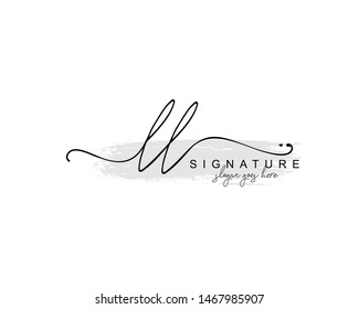 Initial LL beauty monogram and elegant logo design, handwriting logo of initial signature, wedding, fashion, floral and botanical with creative template.
