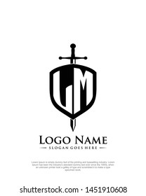 initial LM letter with shield style logo template vector