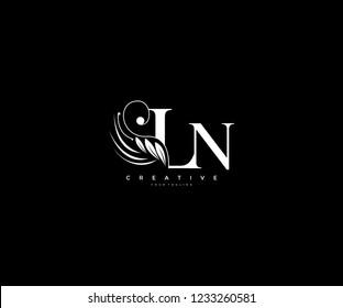 Initial LN letter luxury beauty flourishes ornament monogram logo