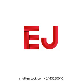 Initial logo 2 letters red vector EJ