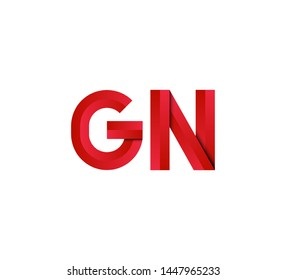 Initial logo 2 letters red vector GN