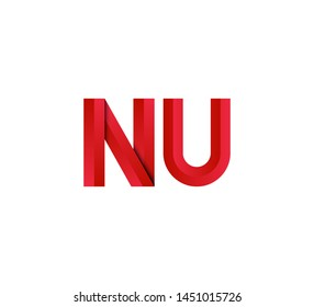 Initial logo 2 letters red vector NU