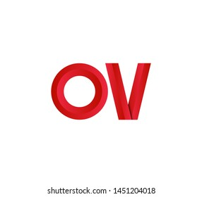 Initial logo 2 letters red vector OV