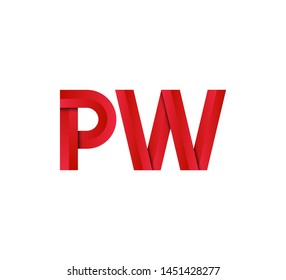 Initial logo 2 letters red vector PW