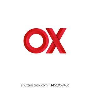Initial logo 2 letters red vector OX
