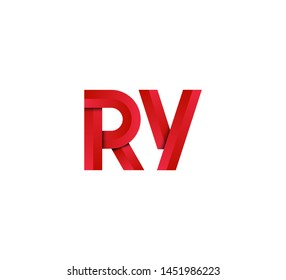 Initial logo 2 letters red vector RY