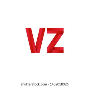 Initial logo 2 letters red vector VZ