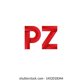 Initial logo 2 letters red vector PZ