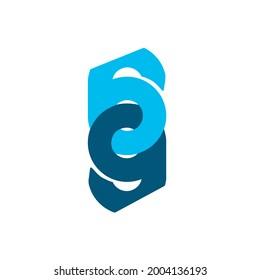 Initial logo 69 logo blue on white background.