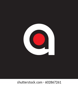 initial logo aa, a inside a rounded letter negative space logo white red black background