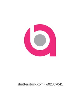 initial logo ab, ba, b inside a rounded letter negative space logo pink gray
